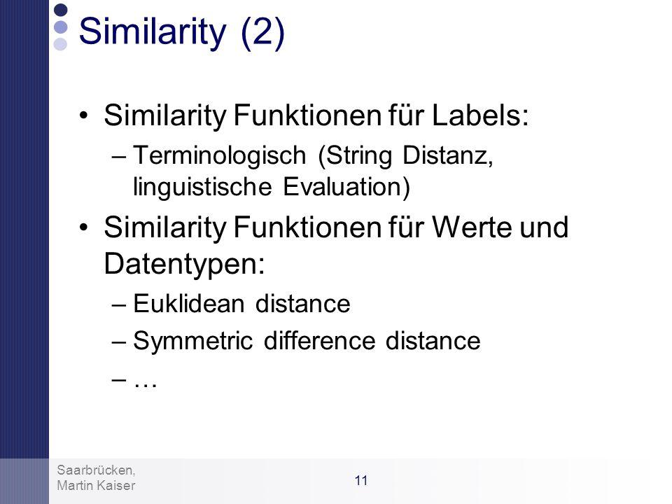 10 Martin Kaiser Saarbrücken, Similarity Similarity (Ähnlichkeit) ist eine Funktion die folgende Eigenschaften erfüllt: