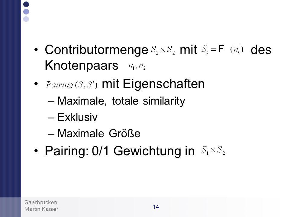 13 Martin Kaiser Saarbrücken, Similarity Berechnung Definition: Beispiel: Klassen