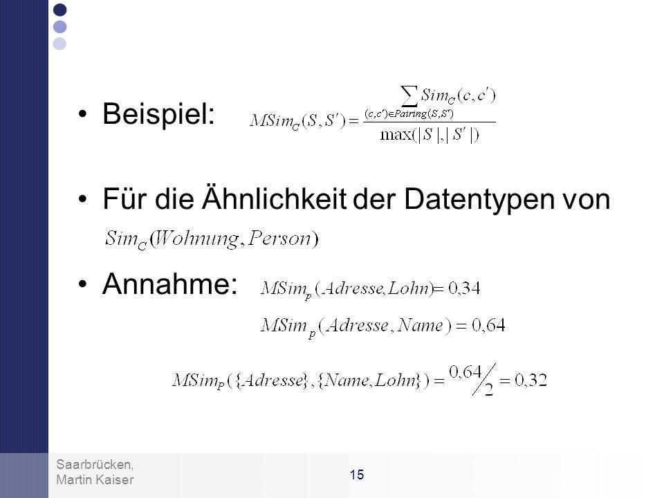 14 Martin Kaiser Saarbrücken, Contributormenge mit des Knotenpaars mit Eigenschaften –Maximale, totale similarity –Exklusiv –Maximale Größe Pairing: 0