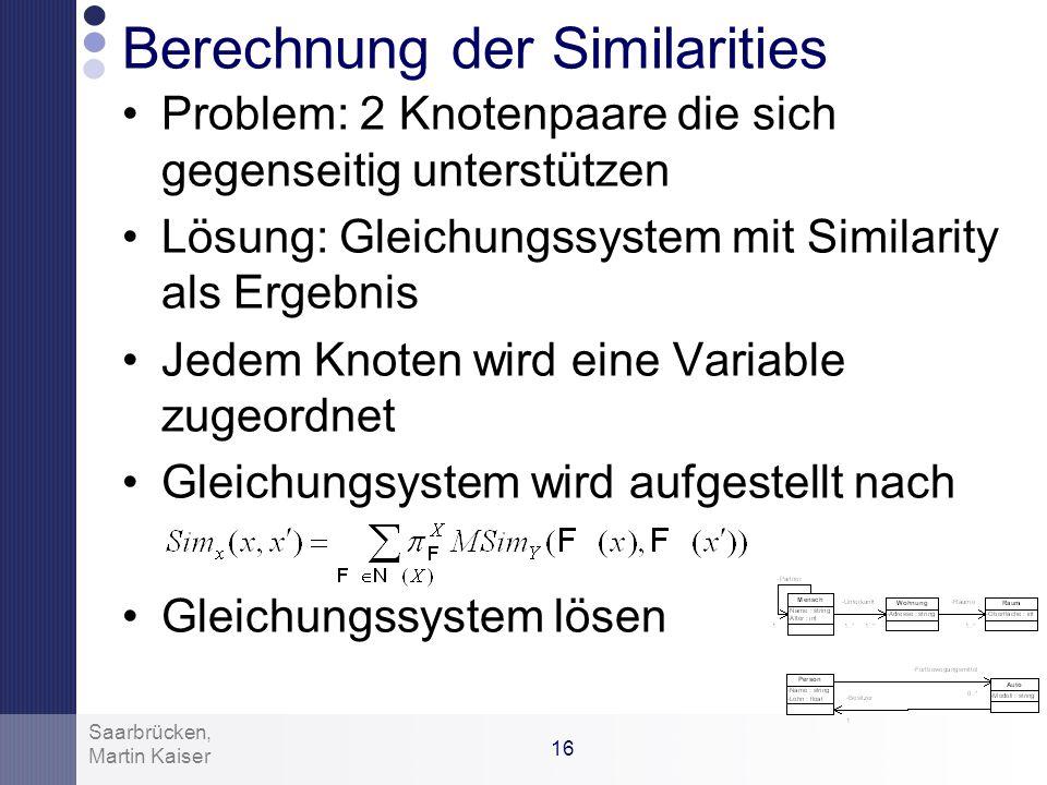 15 Martin Kaiser Saarbrücken, Beispiel: Für die Ähnlichkeit der Datentypen von Annahme: