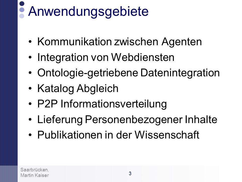 2 Martin Kaiser Saarbrücken, Ontology Alignment Finde Beziehung zwischen 2 Ontologien Äquivalenzen, Subsumption,… zwischen den Entities