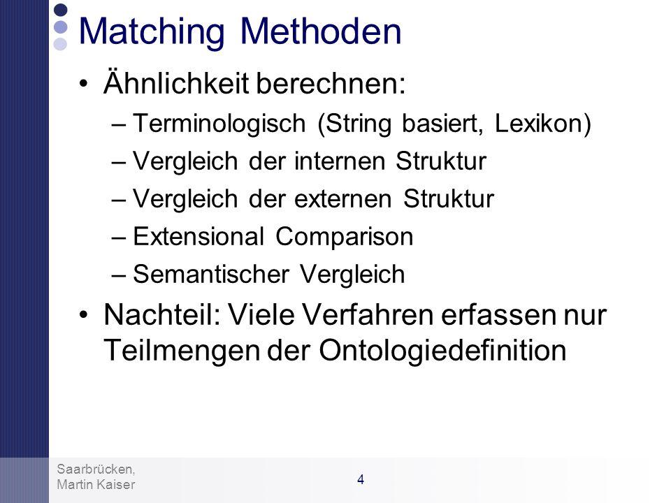 3 Martin Kaiser Saarbrücken, Anwendungsgebiete Kommunikation zwischen Agenten Integration von Webdiensten Ontologie-getriebene Datenintegration Katalo