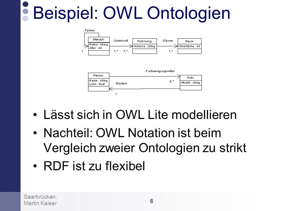 5 Martin Kaiser Saarbrücken, OWL Lite Erweiterung von RDF Zusätzlich: –RDF Schema Schlüsselworte: rdfs:subClassOf, rdfs:Property, rdfs:subPropertyOf,