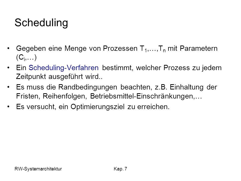 RW-SystemarchitekturKap. 7 Scheduling Gegeben eine Menge von Prozessen T 1,…,T n mit Parametern (C i,…) Ein Scheduling-Verfahren bestimmt, welcher Pro