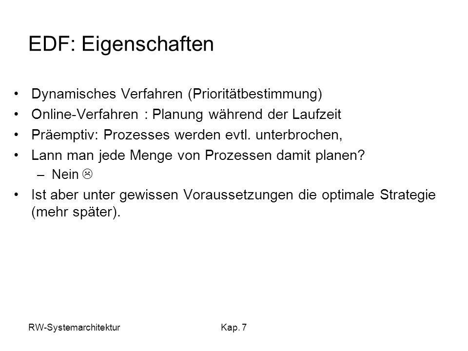 RW-SystemarchitekturKap. 7 EDF: Eigenschaften Dynamisches Verfahren (Prioritätbestimmung) Online-Verfahren : Planung während der Laufzeit Präemptiv: P