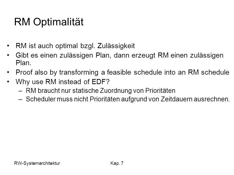 RW-SystemarchitekturKap. 7 RM Optimalität RM ist auch optimal bzgl. Zulässigkeit Gibt es einen zulässigen Plan, dann erzeugt RM einen zulässigen Plan.