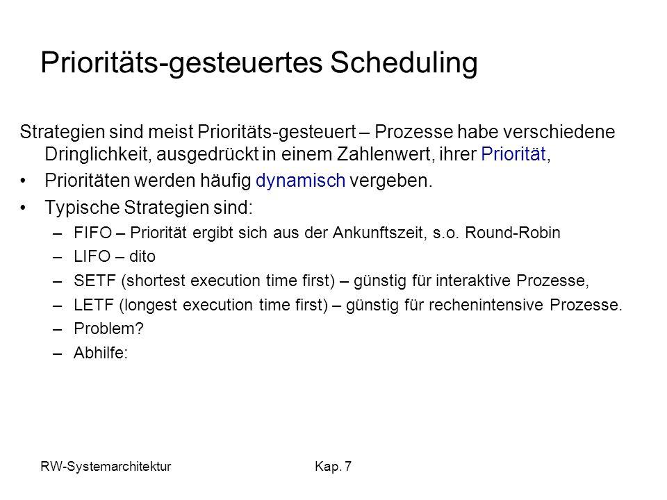 RW-SystemarchitekturKap. 7 Prioritäts-gesteuertes Scheduling Strategien sind meist Prioritäts-gesteuert – Prozesse habe verschiedene Dringlichkeit, au