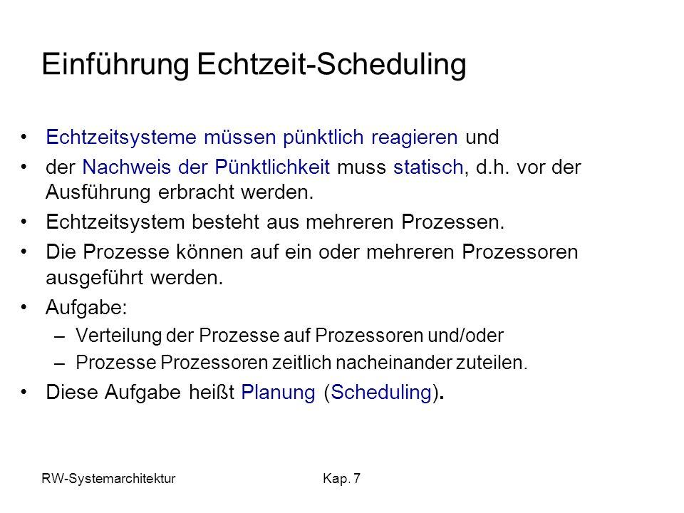 RW-SystemarchitekturKap. 7 Einführung Echtzeit-Scheduling Echtzeitsysteme müssen pünktlich reagieren und der Nachweis der Pünktlichkeit muss statisch,