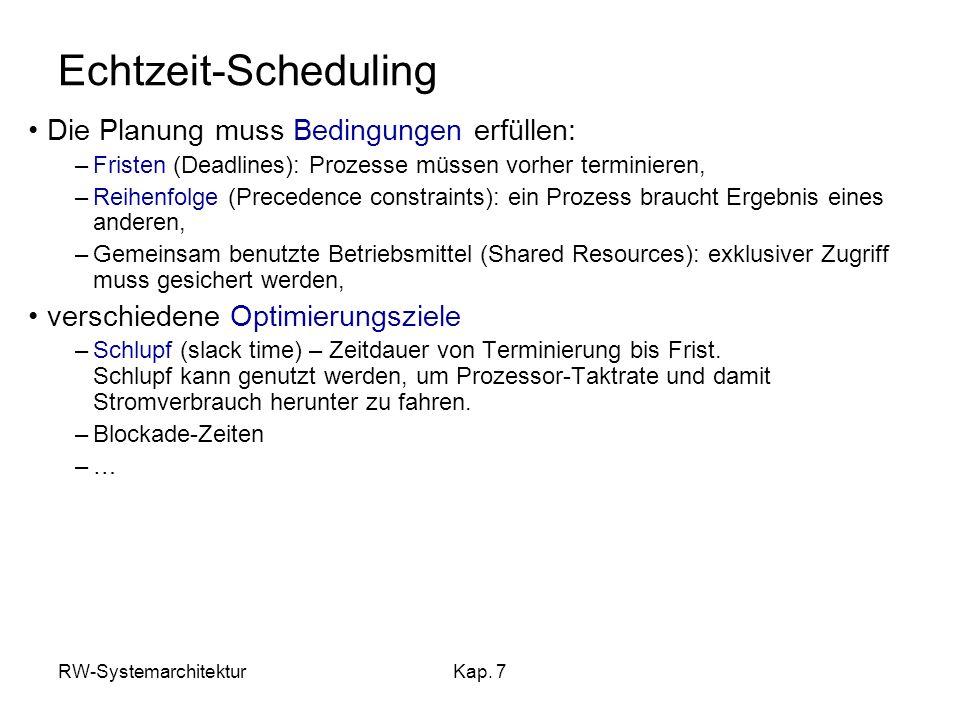 RW-SystemarchitekturKap. 7 Echtzeit-Scheduling Die Planung muss Bedingungen erfüllen: –Fristen (Deadlines): Prozesse müssen vorher terminieren, –Reihe