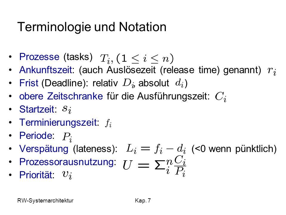 RW-SystemarchitekturKap. 7 Terminologie und Notation Prozesse (tasks) Ankunftszeit: (auch Auslösezeit (release time) genannt) Frist (Deadline): relati
