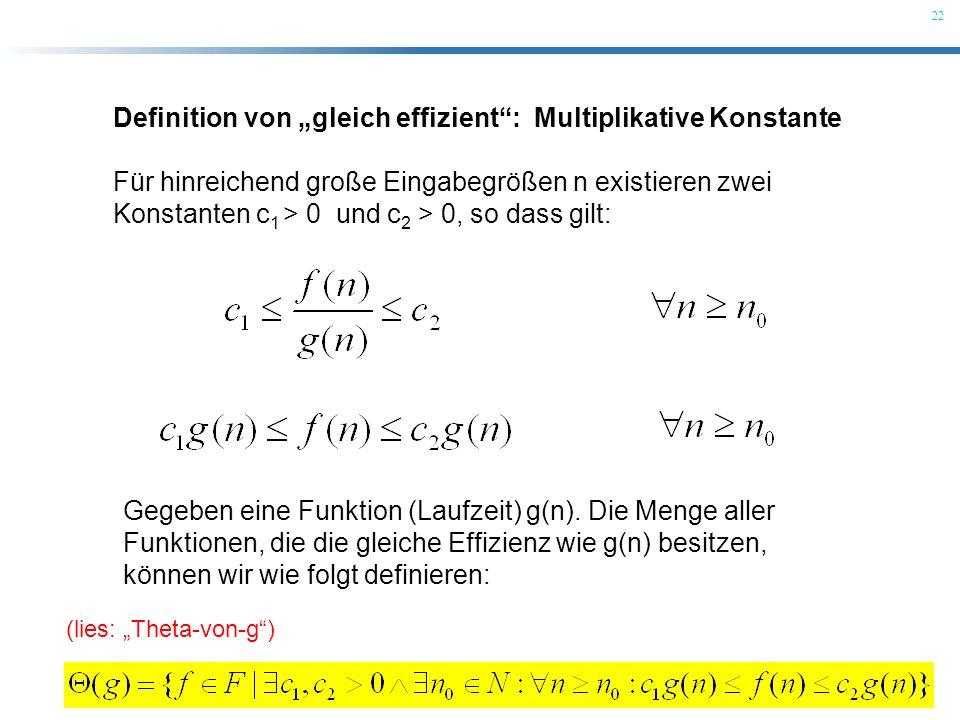 22 Definition von gleich effizient: Multiplikative Konstante Für hinreichend große Eingabegrößen n existieren zwei Konstanten c 1 > 0 und c 2 > 0, so