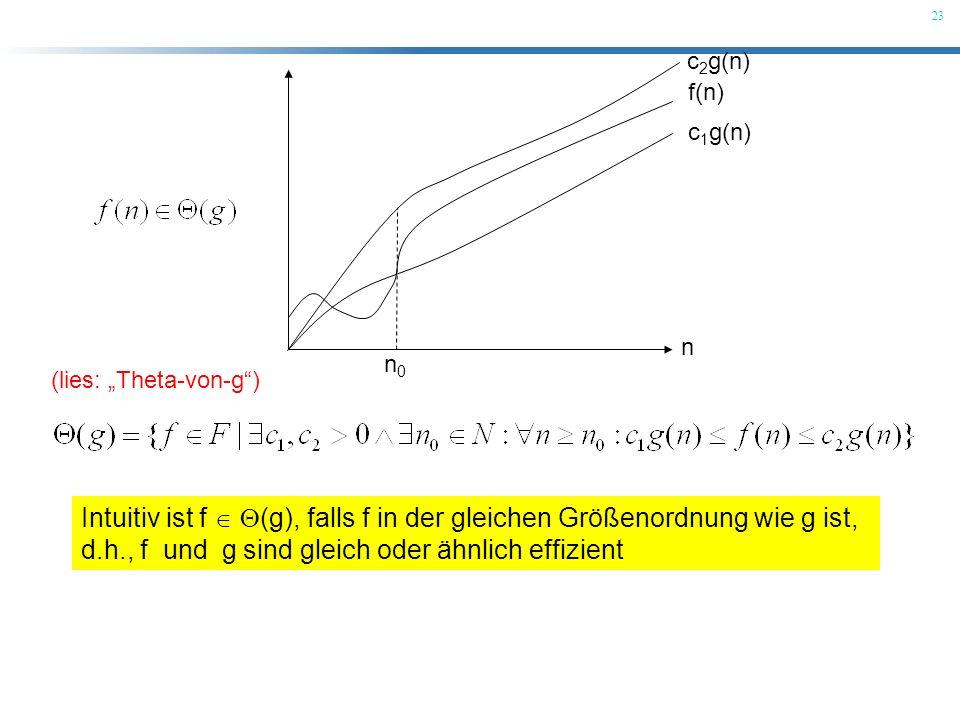 23 (lies: Theta-von-g) Intuitiv ist f (g), falls f in der gleichen Größenordnung wie g ist, d.h., f und g sind gleich oder ähnlich effizient n f(n) c
