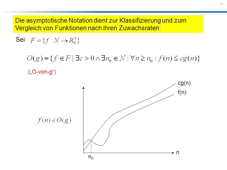 24 (O-von-g) Die asymptotische Notation dient zur Klassifizierung und zum Vergleich von Funktionen nach ihren Zuwachsraten: Sei n f(n) cg(n) n0n0