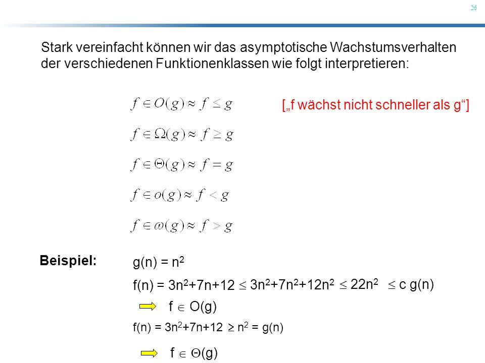 26 Stark vereinfacht können wir das asymptotische Wachstumsverhalten der verschiedenen Funktionenklassen wie folgt interpretieren: [f wächst nicht sch