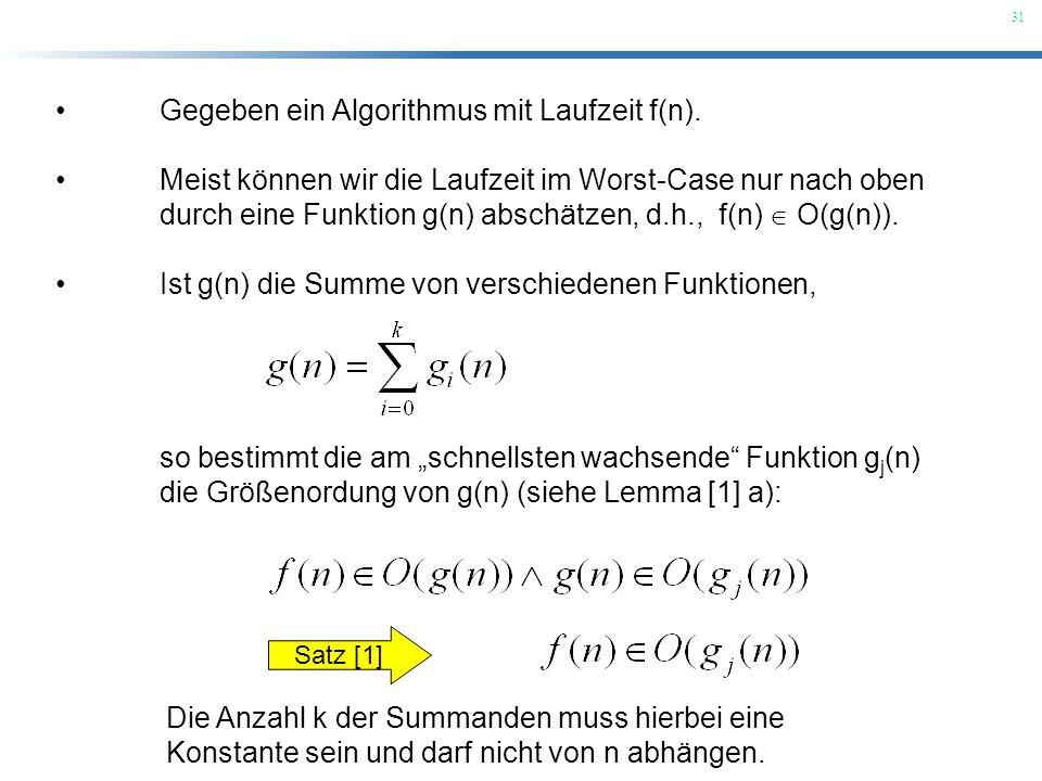 31 Gegeben ein Algorithmus mit Laufzeit f(n). Meist können wir die Laufzeit im Worst-Case nur nach oben durch eine Funktion g(n) abschätzen, d.h., f(n