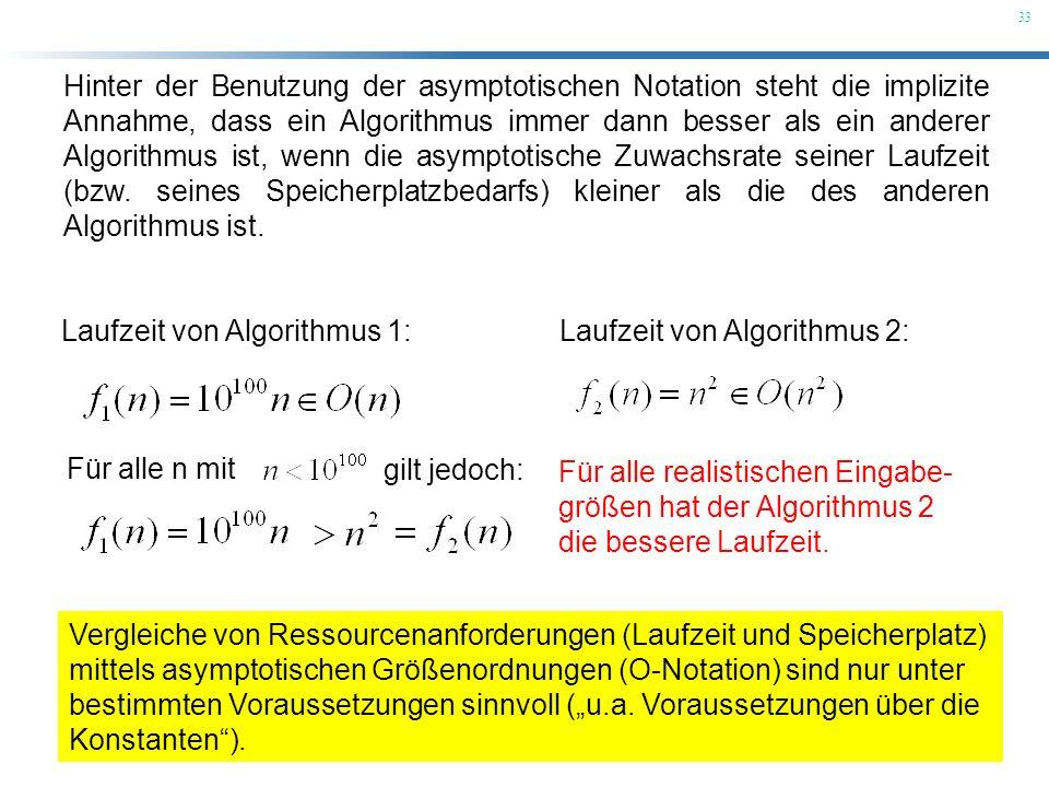 33 Hinter der Benutzung der asymptotischen Notation steht die implizite Annahme, dass ein Algorithmus immer dann besser als ein anderer Algorithmus is