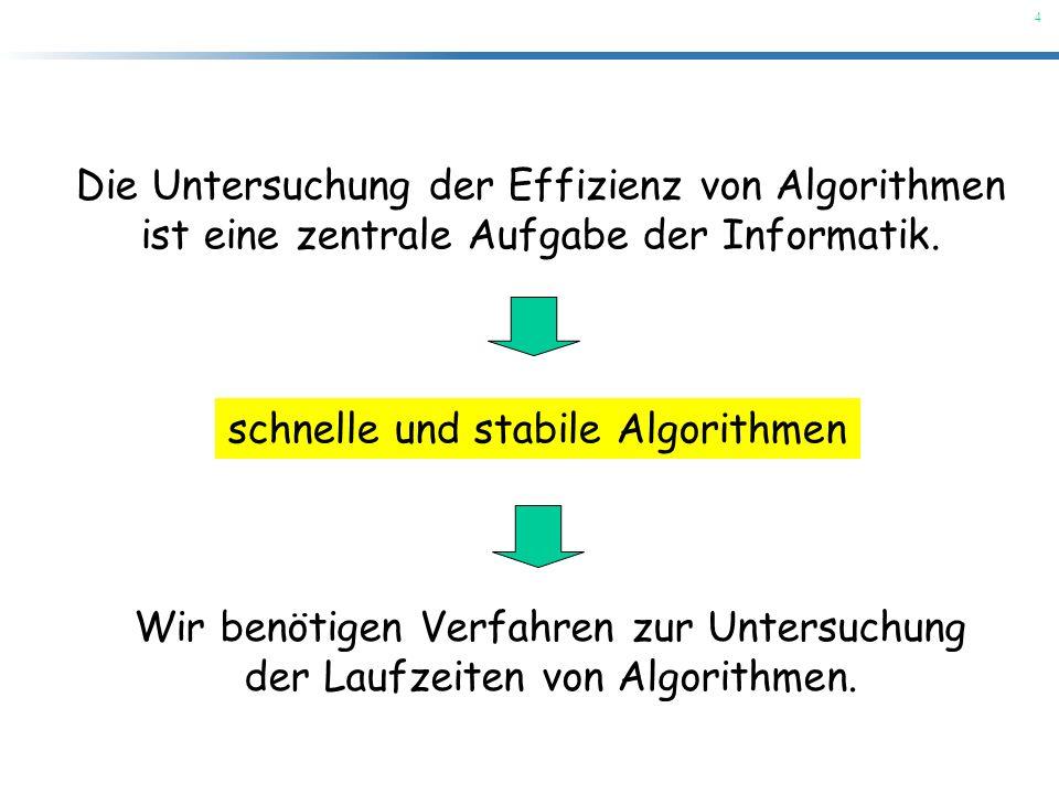 4 Die Untersuchung der Effizienz von Algorithmen ist eine zentrale Aufgabe der Informatik. schnelle und stabile Algorithmen Wir benötigen Verfahren zu