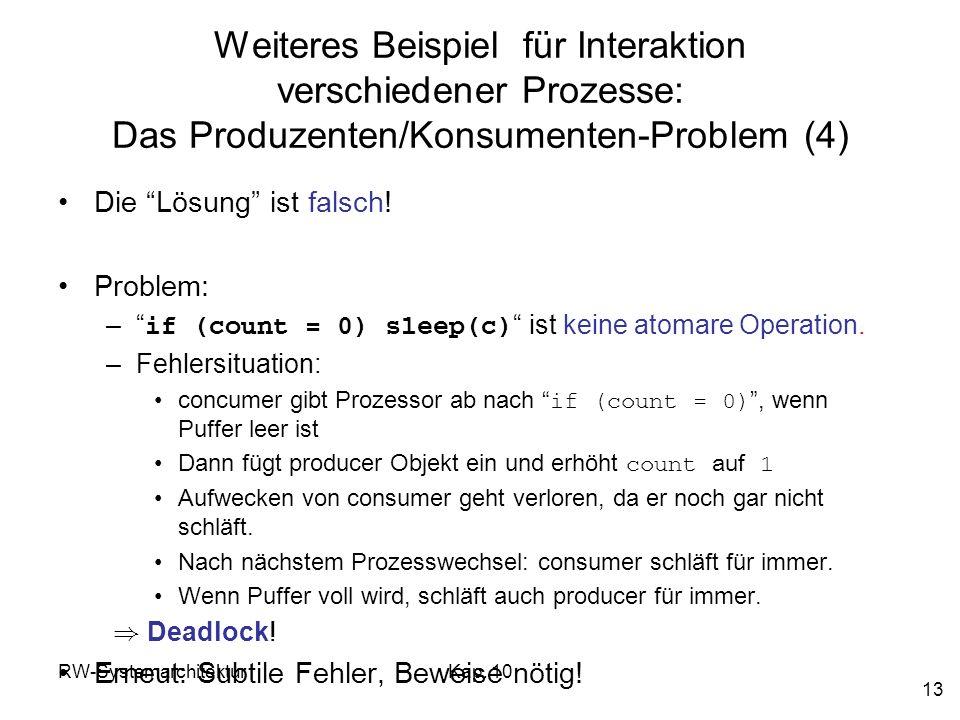 RW-SystemarchitekturKap. 10 13 Weiteres Beispiel für Interaktion verschiedener Prozesse: Das Produzenten/Konsumenten-Problem (4) Die Lösung ist falsch