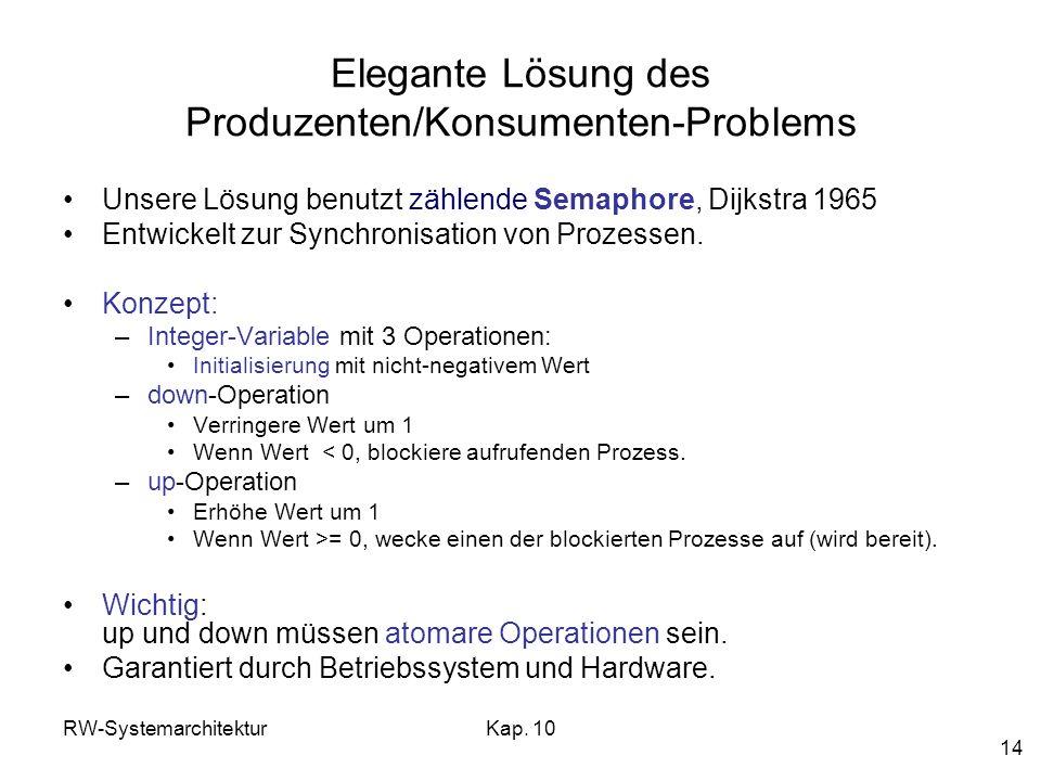 RW-SystemarchitekturKap. 10 14 Elegante Lösung des Produzenten/Konsumenten-Problems Unsere Lösung benutzt zählende Semaphore, Dijkstra 1965 Entwickelt