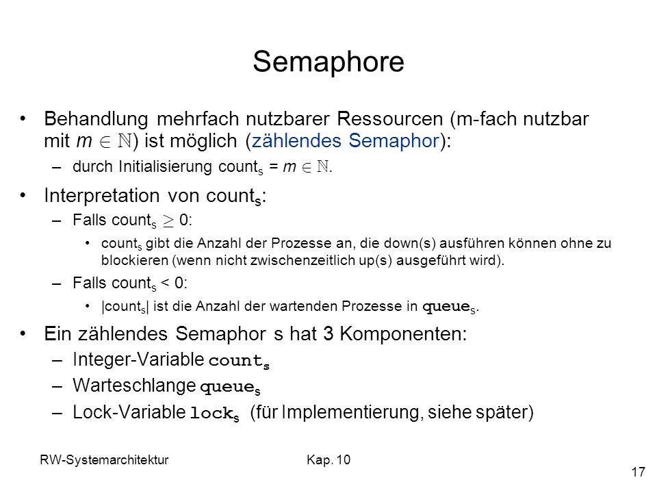 RW-SystemarchitekturKap. 10 17 Semaphore Behandlung mehrfach nutzbarer Ressourcen (m-fach nutzbar mit m 2 N ) ist möglich (zählendes Semaphor): –durch