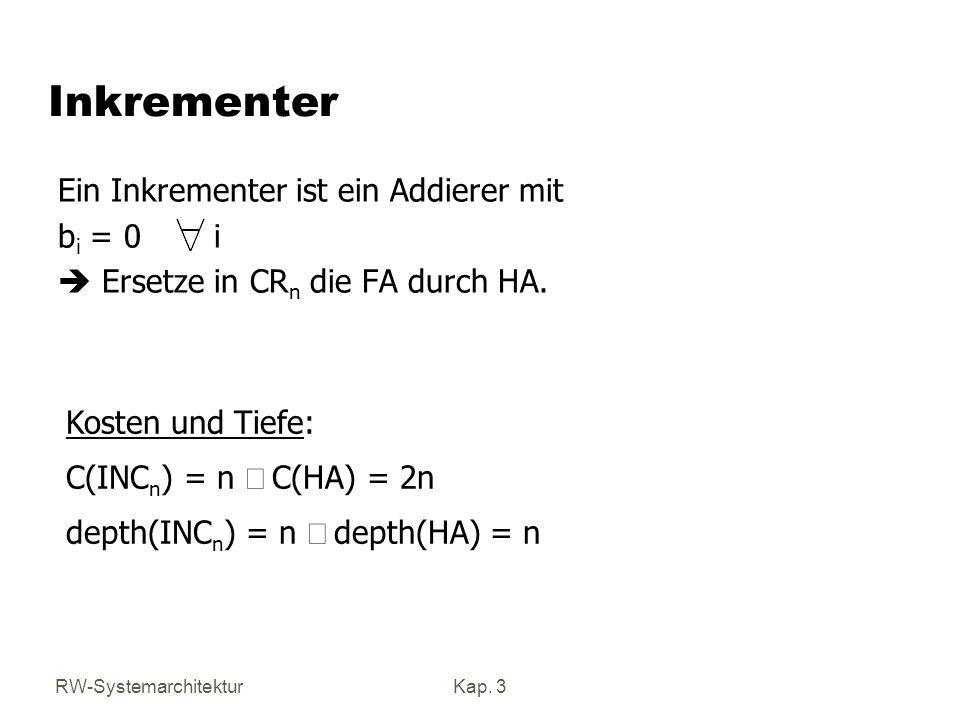 RW-SystemarchitekturKap. 3 Inkrementer Ein Inkrementer ist ein Addierer mit b i = 0 i Ersetze in CR n die FA durch HA. Kosten und Tiefe: C(INC n ) = n