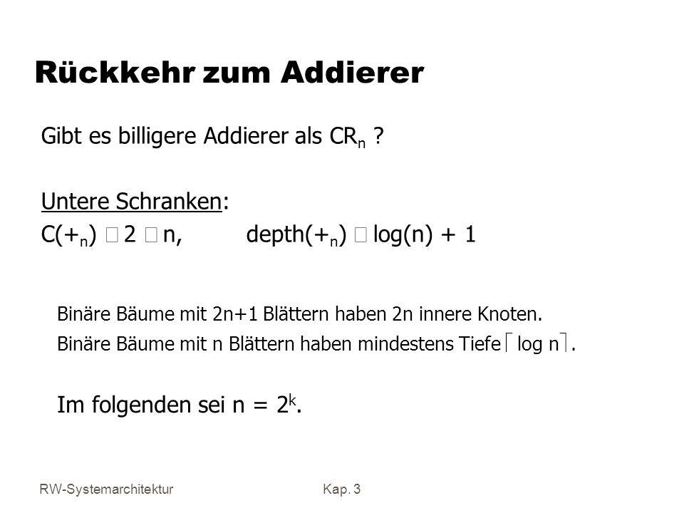 RW-SystemarchitekturKap. 3 Rückkehr zum Addierer Gibt es billigere Addierer als CR n ? Untere Schranken: C(+ n ) 2 n, depth(+ n ) log(n) + 1 Binäre Bä