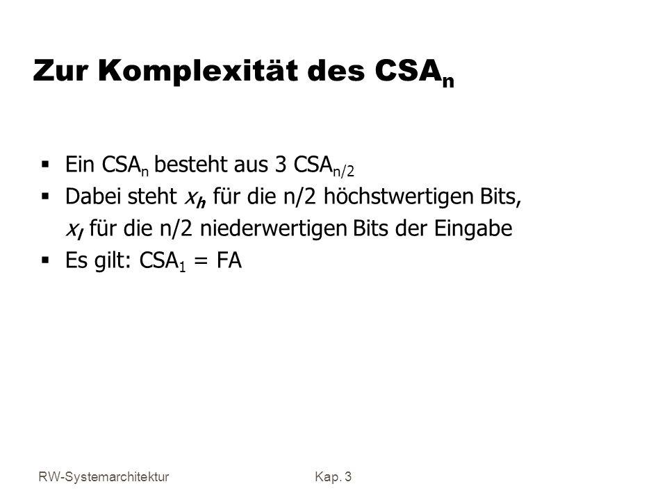 RW-SystemarchitekturKap. 3 Zur Komplexität des CSA n Ein CSA n besteht aus 3 CSA n/2 Dabei steht x h für die n/2 höchstwertigen Bits, x l für die n/2