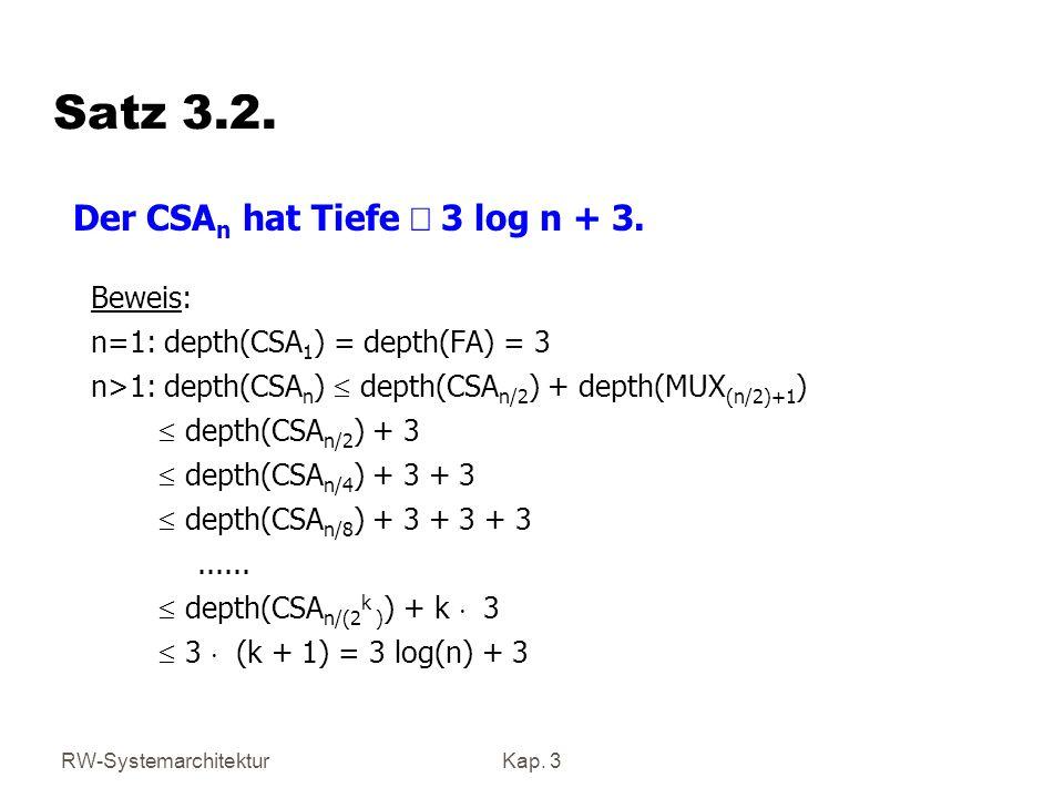 RW-SystemarchitekturKap. 3 Satz 3.2. Beweis: n=1: depth(CSA 1 ) = depth(FA) = 3 n>1: depth(CSA n ) depth(CSA n/2 ) + depth(MUX (n/2)+1 ) depth(CSA n/2