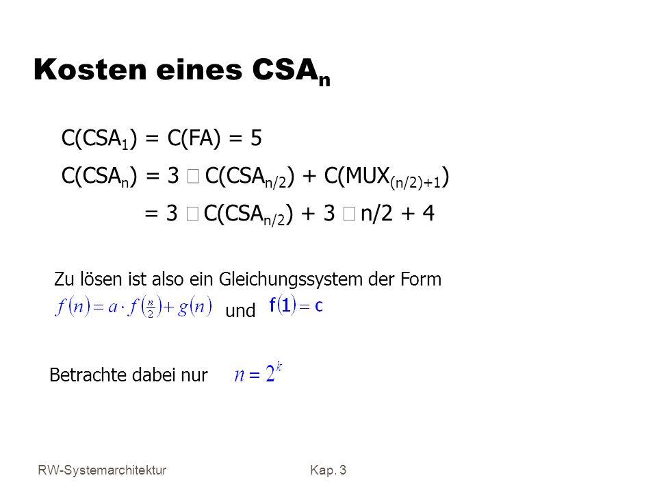 RW-SystemarchitekturKap. 3 Zu lösen ist also ein Gleichungssystem der Form und Kosten eines CSA n C(CSA 1 ) = C(FA) = 5 C(CSA n ) = 3 C(CSA n/2 ) + C(