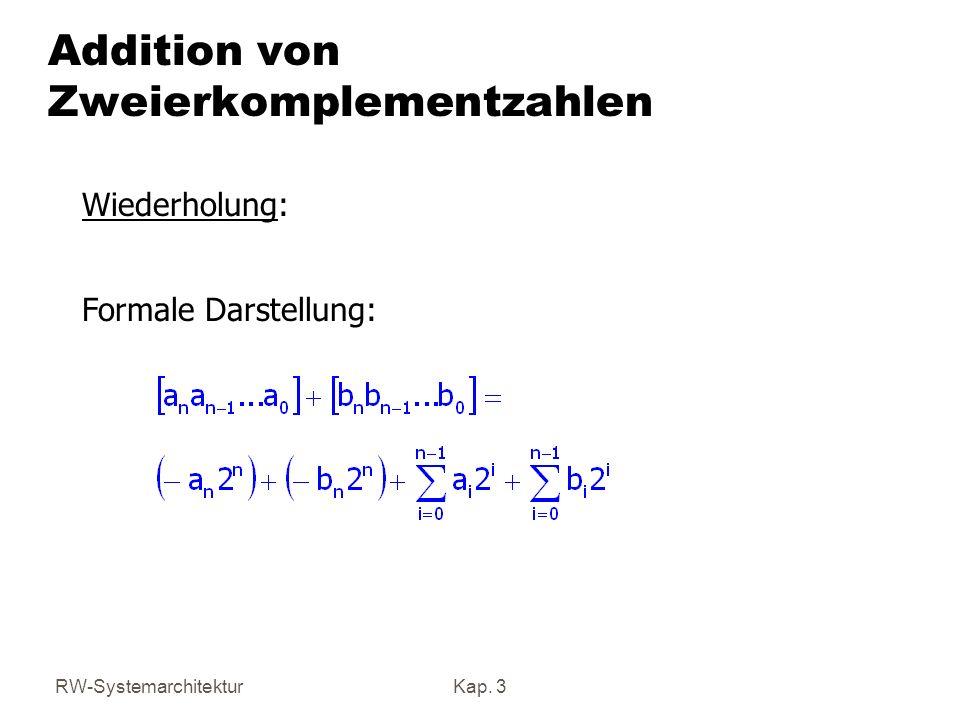 RW-SystemarchitekturKap. 3 Addition von Zweierkomplementzahlen Wiederholung: Formale Darstellung: