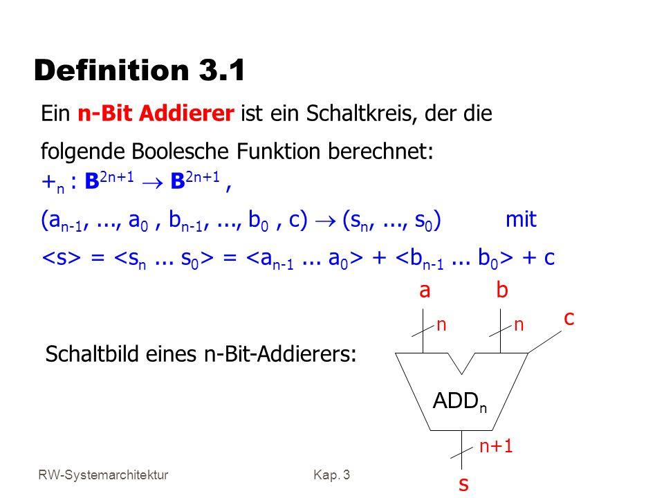 RW-SystemarchitekturKap. 3 Definition 3.1 + n : B 2n+1 B 2n+1, (a n-1,..., a 0, b n-1,..., b 0, c) (s n,..., s 0 ) mit = = + + c Ein n-Bit Addierer is