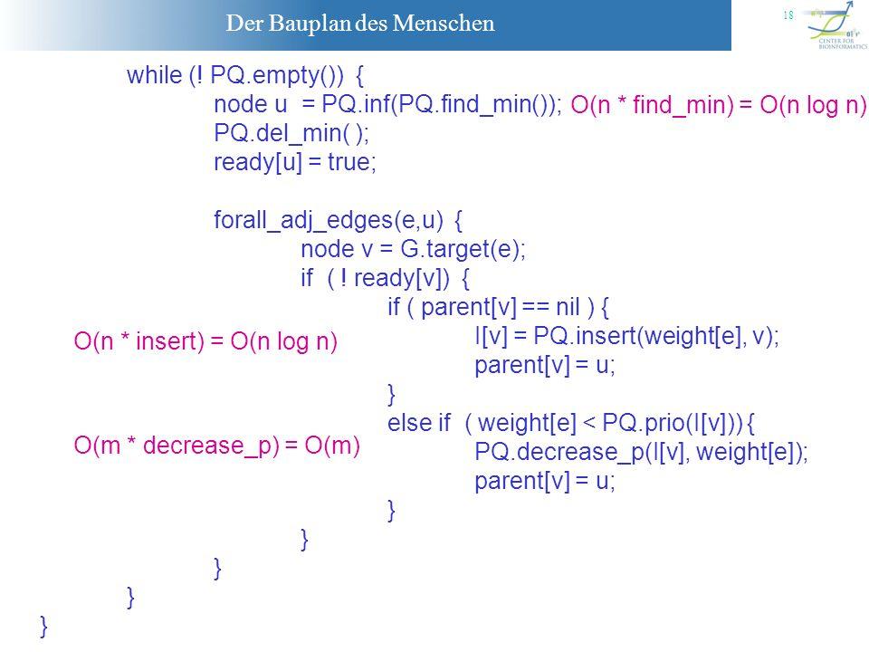 Der Bauplan des Menschen 18 while (! PQ.empty()) { node u = PQ.inf(PQ.find_min()); PQ.del_min( ); ready[u] = true; forall_adj_edges(e,u) { node v = G.
