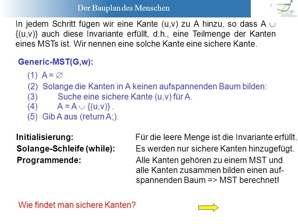 Der Bauplan des Menschen 15 Prims Algorithmus zur Berechnung eines MST: void MST-PRIM( const graph& G, node r, const edge_array & weight, node_array & parent) { Die MST-Berechnung geht von dem Knoten r aus.