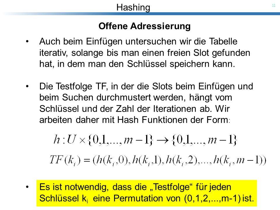 Hashing 11 Offene Adressierung Auch beim Einfügen untersuchen wir die Tabelle iterativ, solange bis man einen freien Slot gefunden hat, in dem man den