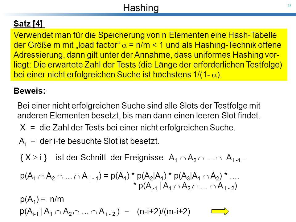 Hashing 16 Satz [4] Verwendet man für die Speicherung von n Elementen eine Hash-Tabelle der Größe m mit load factor = n/m < 1 und als Hashing-Technik