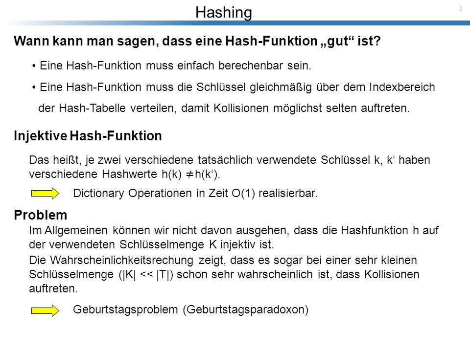 Hashing 3 Wann kann man sagen, dass eine Hash-Funktion gut ist? Eine Hash-Funktion muss einfach berechenbar sein. Eine Hash-Funktion muss die Schlüsse