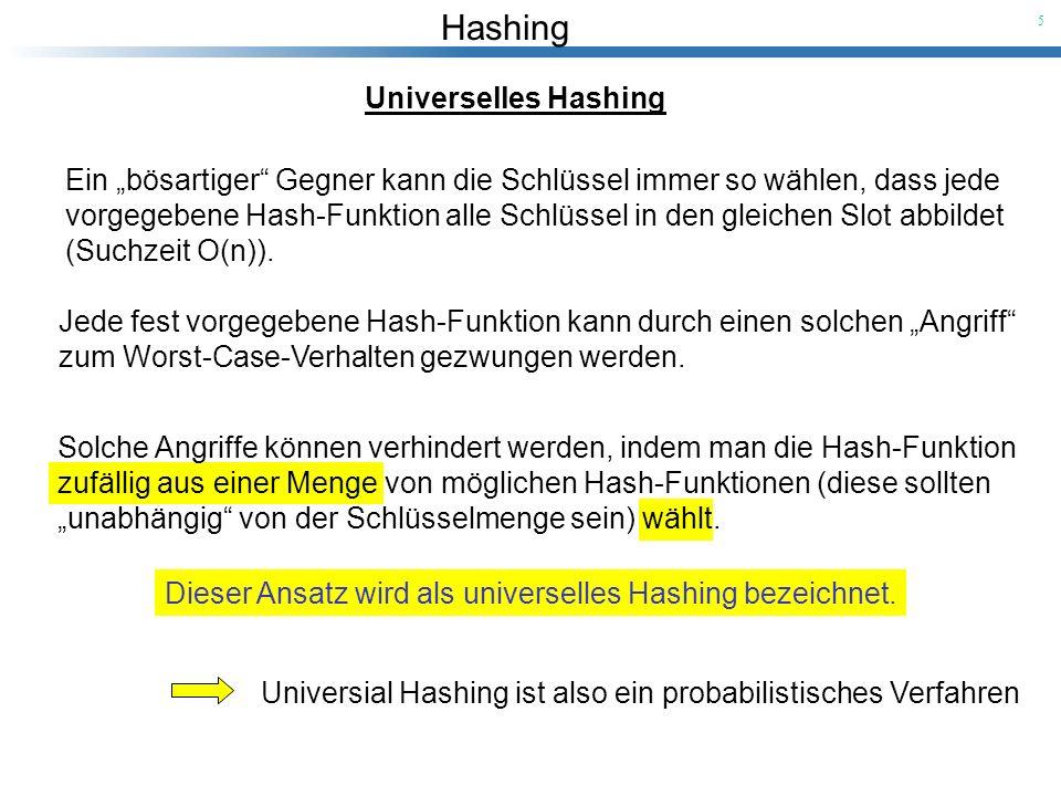 Hashing 5 Universelles Hashing Ein bösartiger Gegner kann die Schlüssel immer so wählen, dass jede vorgegebene Hash-Funktion alle Schlüssel in den gle