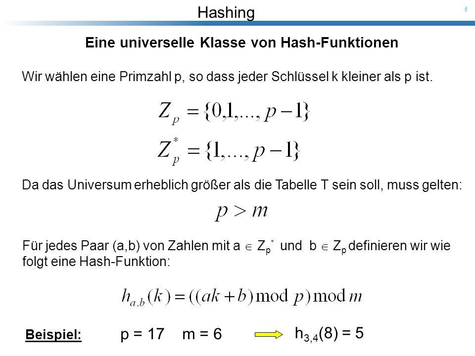 Hashing 6 Eine universelle Klasse von Hash-Funktionen Wir wählen eine Primzahl p, so dass jeder Schlüssel k kleiner als p ist. Da das Universum erhebl
