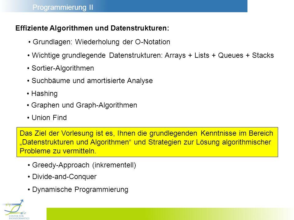 Programmierung II Effiziente Algorithmen und Datenstrukturen: Grundlagen: Wiederholung der O-Notation Wichtige grundlegende Datenstrukturen: Arrays +