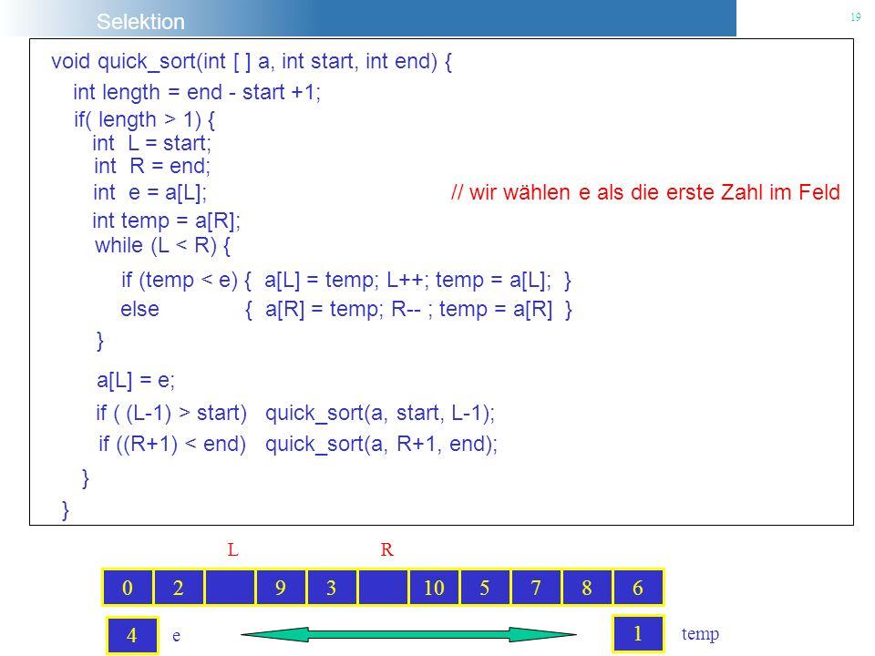 Selektion 19 void quick_sort(int [ ] a, int start, int end) { int e = a[L]; // wir wählen e als die erste Zahl im Feld while (L < R) { if (temp < e) {