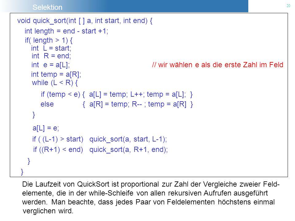 Selektion 20 Die Laufzeit von QuickSort ist proportional zur Zahl der Vergleiche zweier Feld- elemente, die in der while-Schleife von allen rekursiven