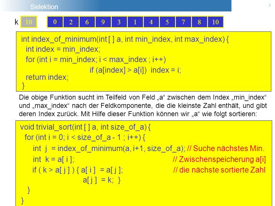 Selektion 3 102693145780 0 0 int index_of_minimum(int [ ] a, int min_index, int max_index) { int index = min_index; for (int i = min_index; i < max_in