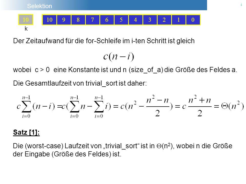 Selektion 5 Problem T(n) = Konkatenation (, ) Problem B(n) Problem T(n-1) B = Berechne das Minimum von n Zahlen n = 1 n > 1 Divide & Conquer Idee: Zerlege das ursprüngliche Problem der Größe n in kleinere Teilprobleme.