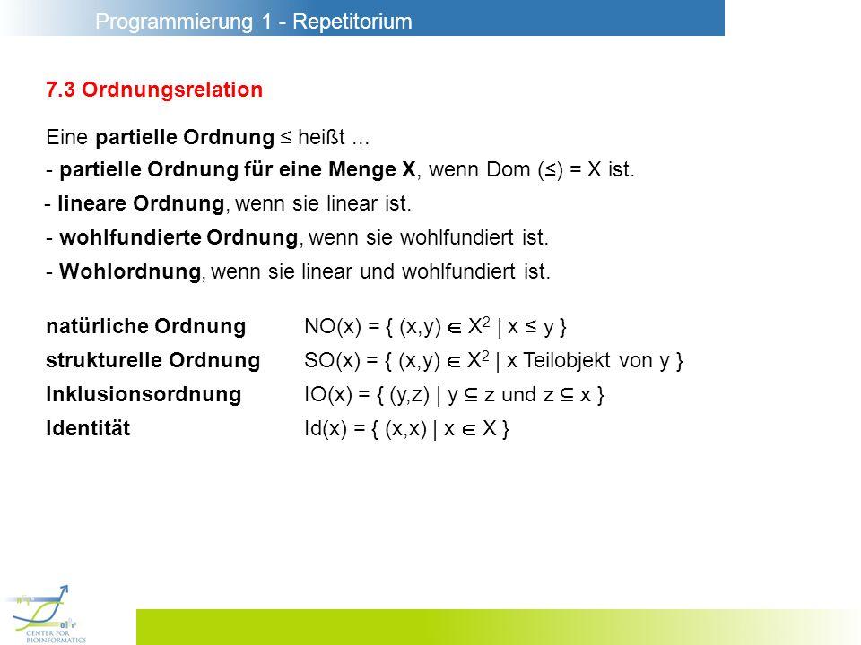 Programmierung 1 - Repetitorium 7.3 Ordnungsrelation Eine partielle Ordnung heißt...