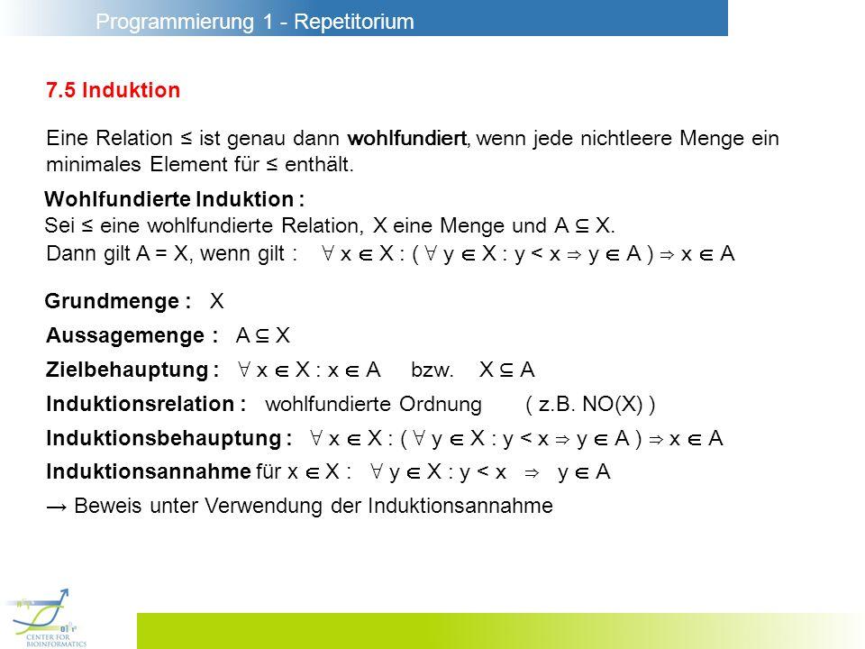 Programmierung 1 - Repetitorium 7.5 Induktion Eine Relation ist genau dann wohlfundiert, wenn jede nichtleere Menge ein minimales Element für enthält.