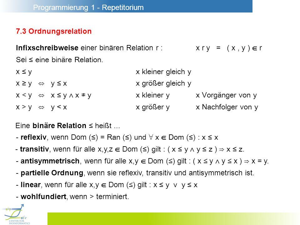 Programmierung 1 - Repetitorium 7.3 Ordnungsrelation Infixschreibweise einer binären Relation r :x r y = ( x, y ) r Sei eine binäre Relation. x yx kle