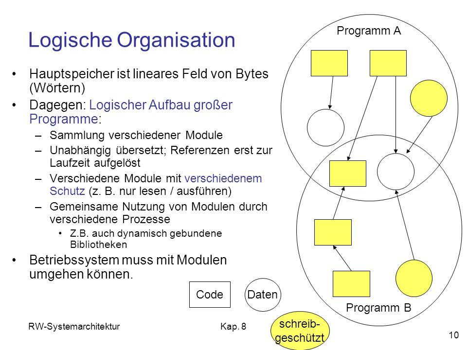 RW-SystemarchitekturKap. 8 10 Logische Organisation Hauptspeicher ist lineares Feld von Bytes (Wörtern) Dagegen: Logischer Aufbau großer Programme: –S