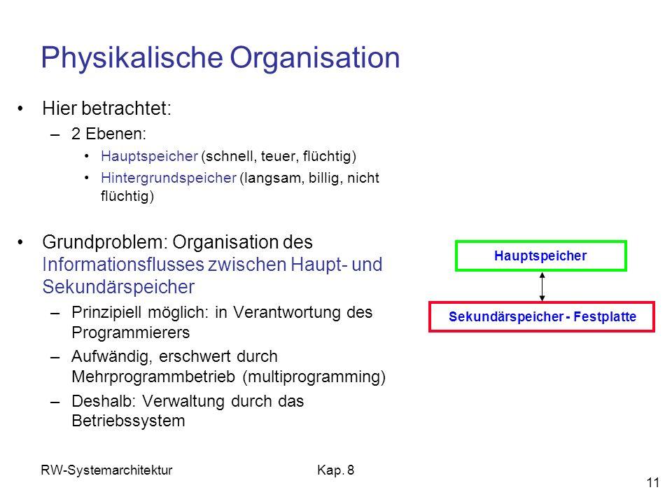 RW-SystemarchitekturKap. 8 11 Physikalische Organisation Hier betrachtet: –2 Ebenen: Hauptspeicher (schnell, teuer, flüchtig) Hintergrundspeicher (lan