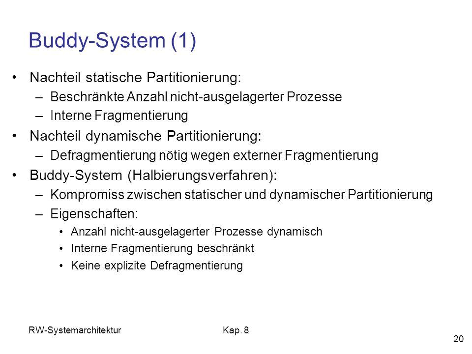 RW-SystemarchitekturKap. 8 20 Buddy-System (1) Nachteil statische Partitionierung: –Beschränkte Anzahl nicht-ausgelagerter Prozesse –Interne Fragmenti