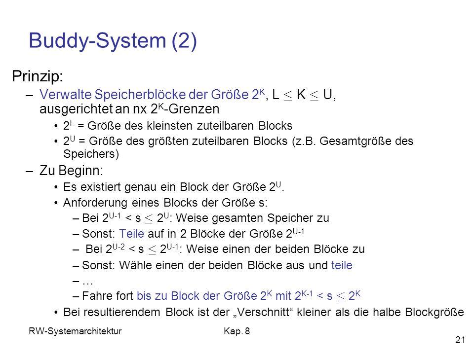 RW-SystemarchitekturKap. 8 21 Buddy-System (2) Prinzip: –Verwalte Speicherblöcke der Größe 2 K, L · K · U, ausgerichtet an nx 2 K -Grenzen 2 L = Größe